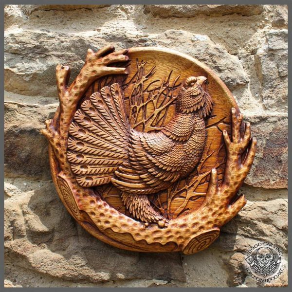 capercaillie hand wood carved for sale