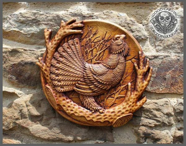 Capercaillie wood carved