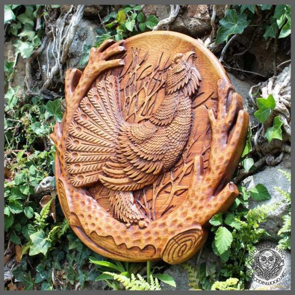 Capercaillie wood carving wall decor