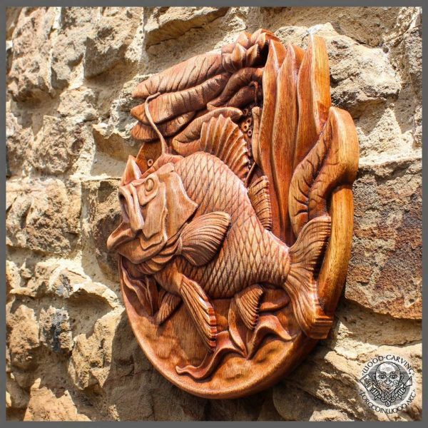 Carp Fish wood carving for sale