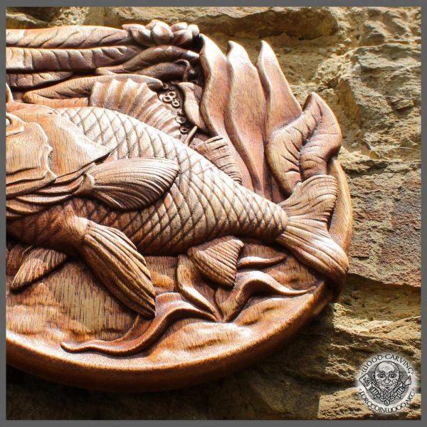 Carp wood fish gift