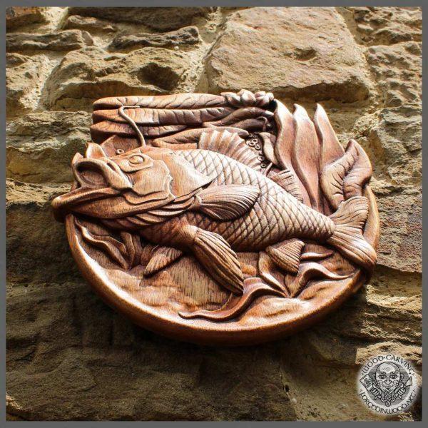 wood carp wall art