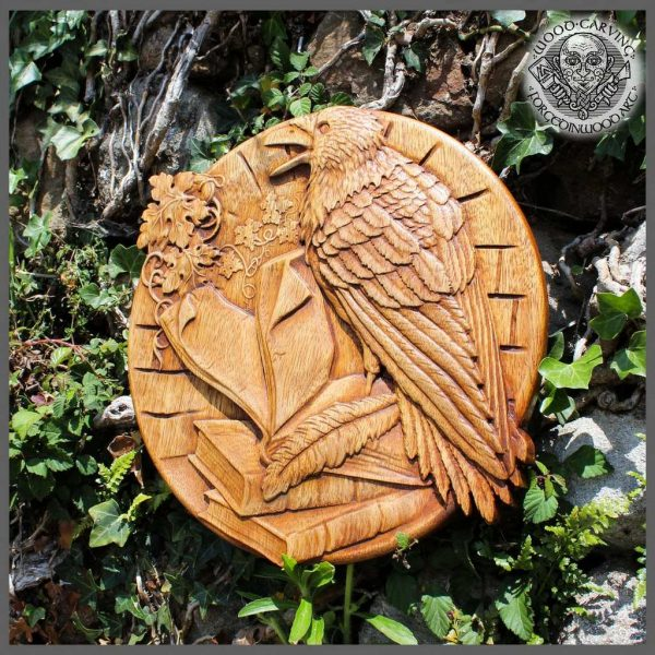 Carved Raven wall art wood carving picture
