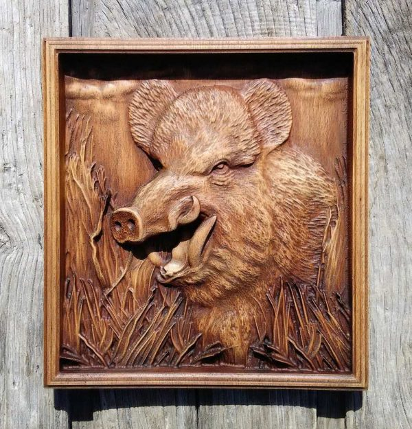 Carved Wild Boar home Wall Hanging