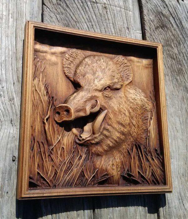wooden plaque wild boar