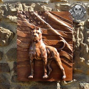 carved wood american staffordshire terrier