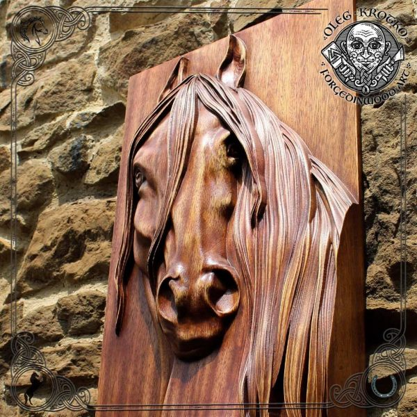Carved wood horse head portrait