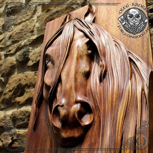 wooden picture horse