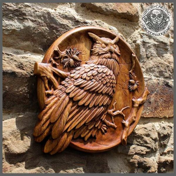 owl wood carving for sale