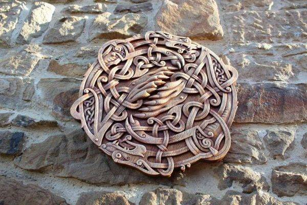 Celtic Wolfs Norse Wood Carving