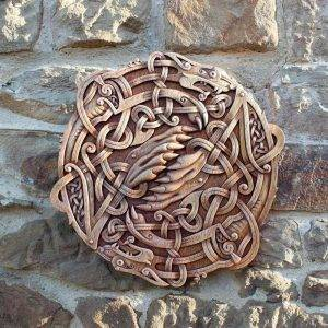 CARVED WOOD PICTURE HATI AND SKOLL