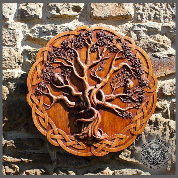 Carved wood yggdrasil
