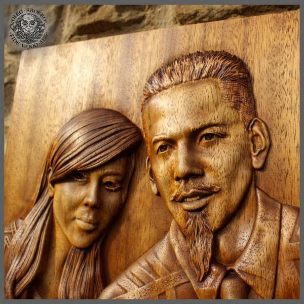 Engraved portrait from custom photo with 3d wood relief