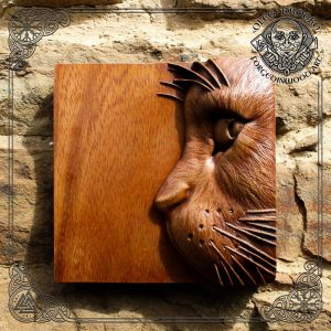 Cat carved wood wall hanging