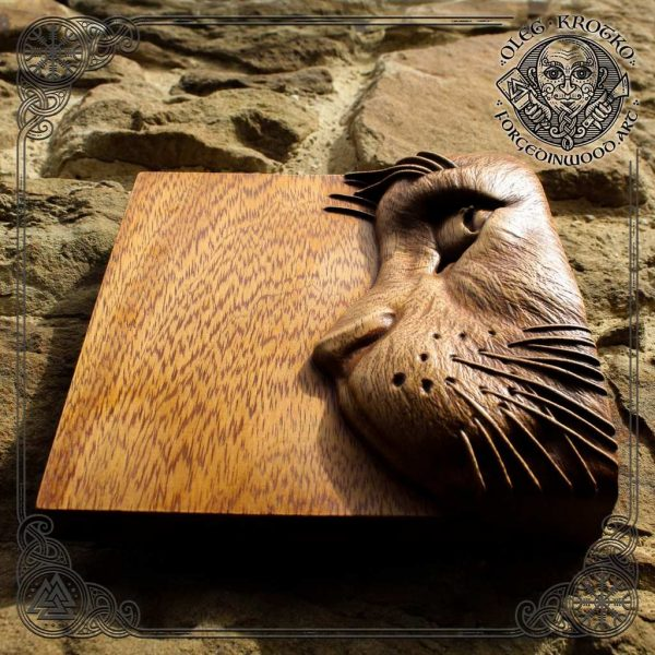 Cat wood carving picture home decor wall art