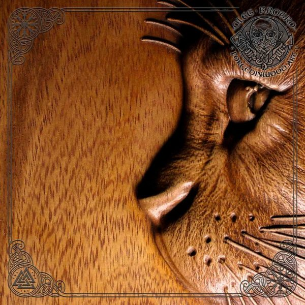 Cat wood carving for sale