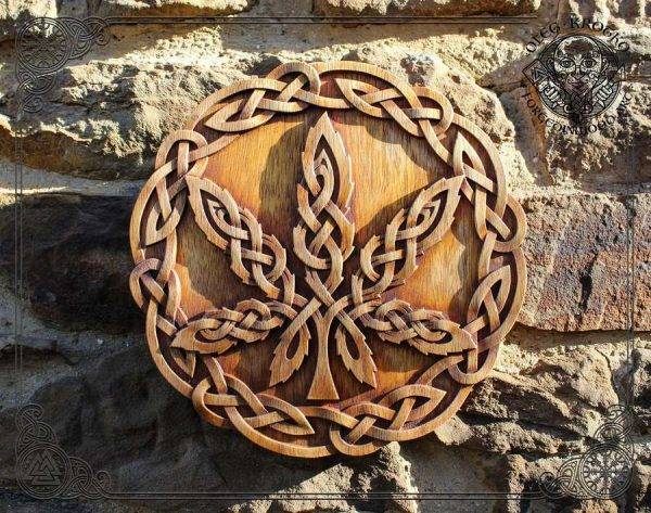 Celtic Cannabis wood carving