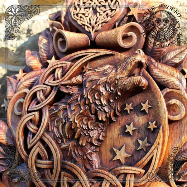 Celtic Wolf Moon wood carving