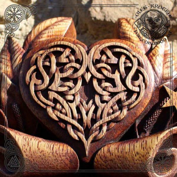wooden Celtic Wolf Moon