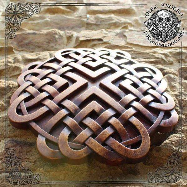 Celtic wood carving home decor