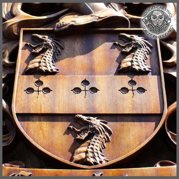 HANDMADE WOOD CARVED COAT OF ARMS