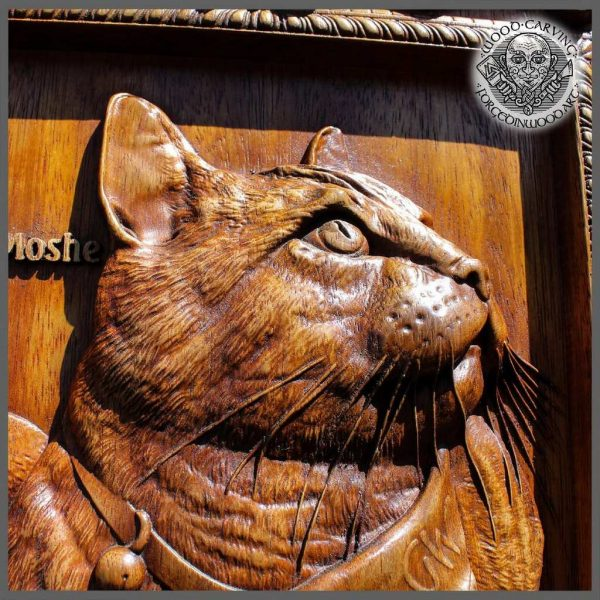 Hand Carved Wood Cat