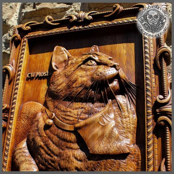 Woodcarvings Cat Portraits