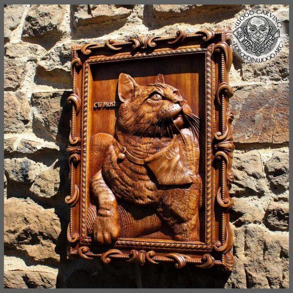 Custom cat portrait wood carving