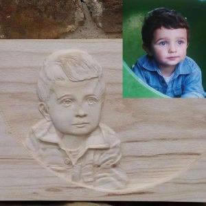 Custom Child Portrait wood carvings