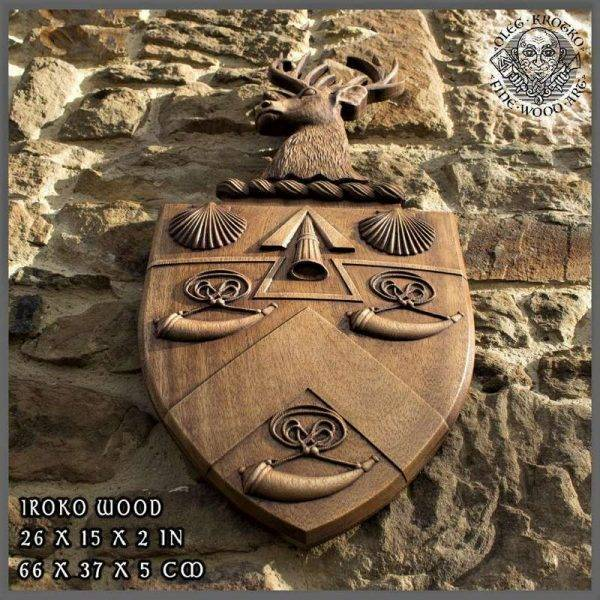 Customized WOOD CARVED COAT OF ARMS