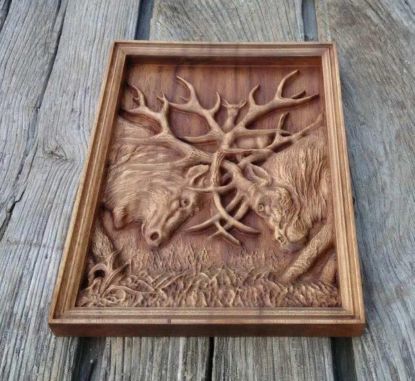 Deer Deer carving wood art