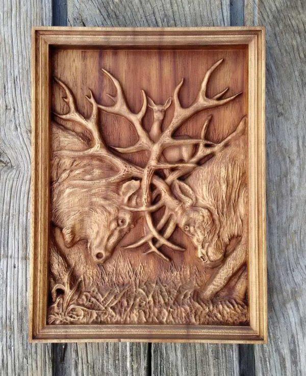 Deer carving wood art