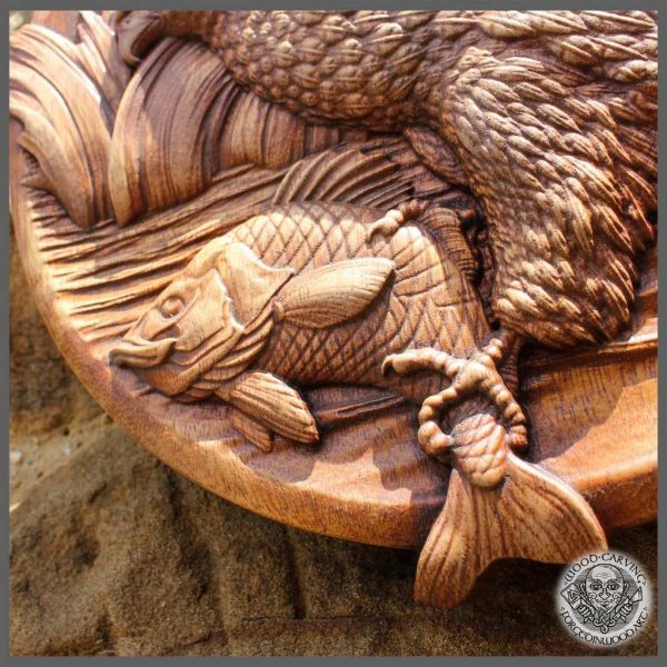 Eagle Fishing Carp carving for sale