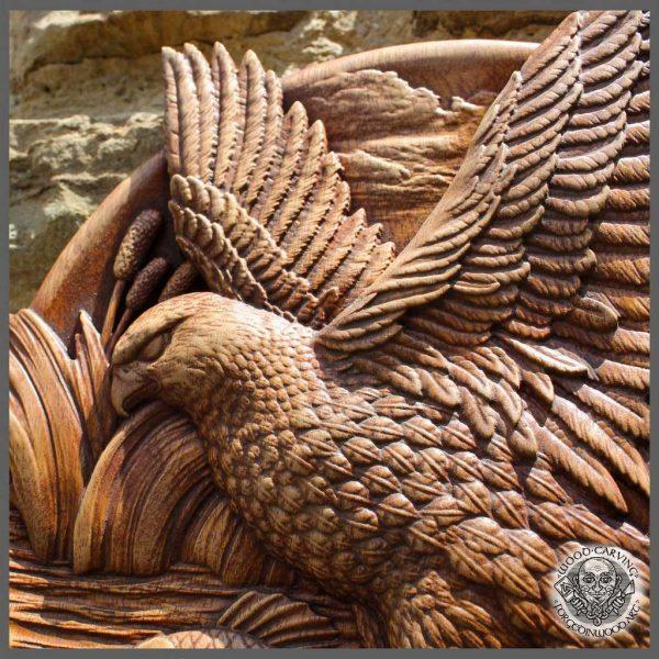 wooden Eagle Fishing Carp rustic decor