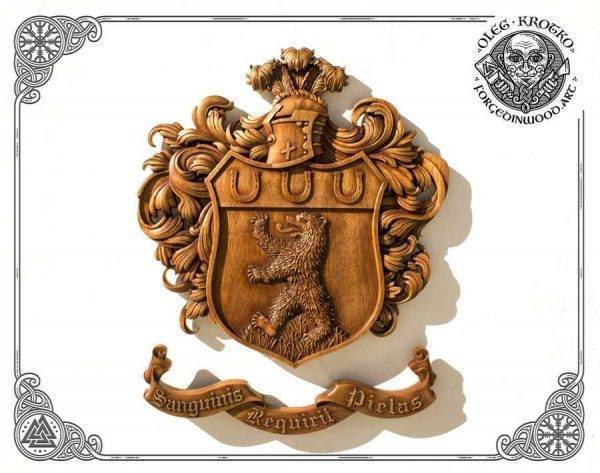 Custom Family Heraldic Symbols wood carving