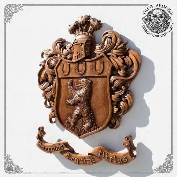 Family Heraldic Symbols wood carving