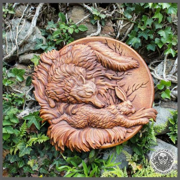 Fox and Hare Wood carving