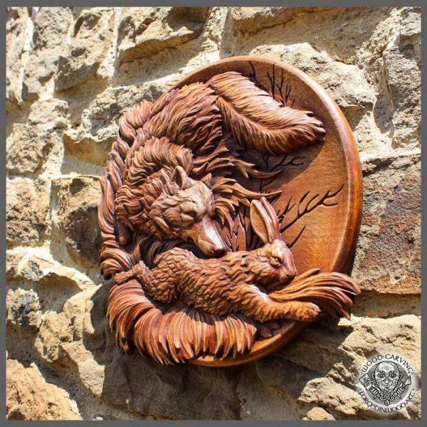 Fox and Hare carvings Wild Life