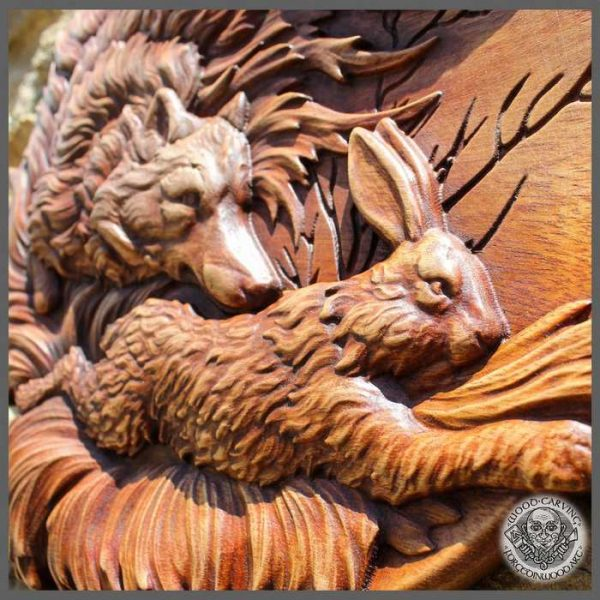 Hare Wood carving