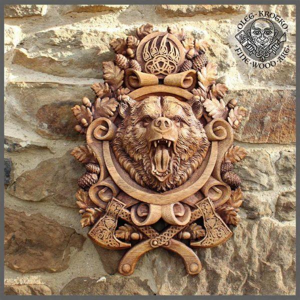 Carved Wood Berserker Bear