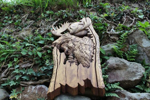 wood carving moose for sale