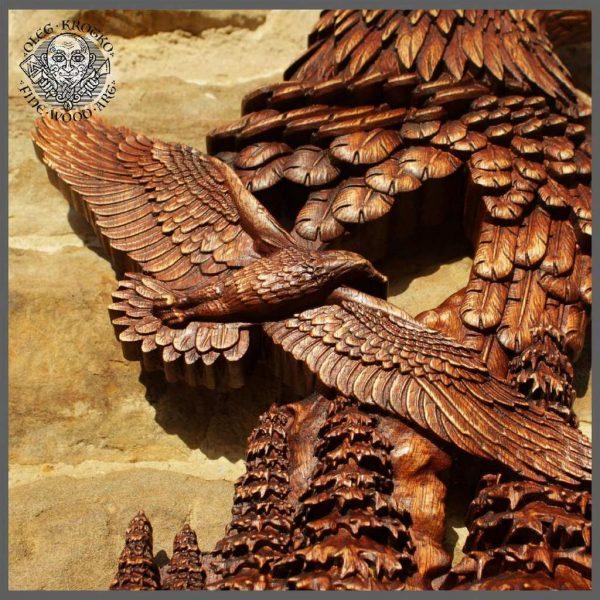 carved wood eagles gift