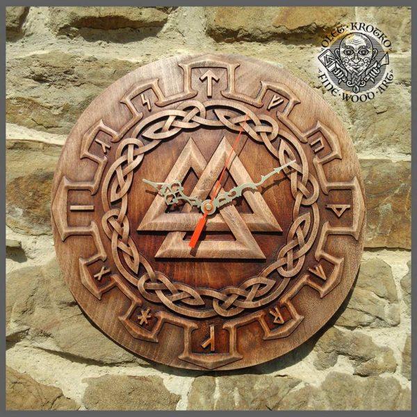 Carved Wood Viking Clock
