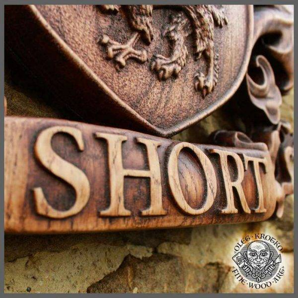 HAND MADE WOOD CUSTOM CARVED COAT OF ARMS