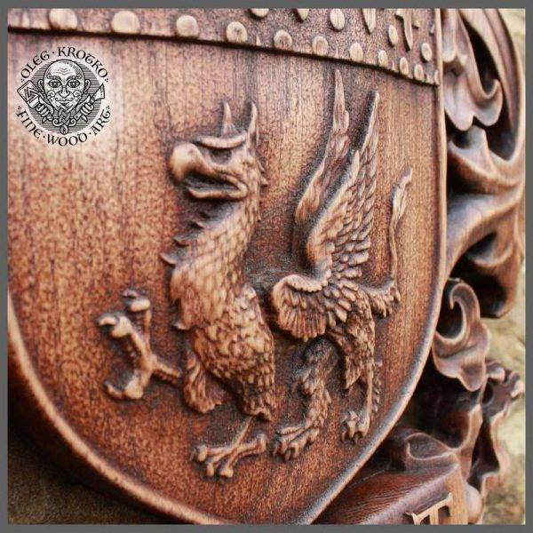 HAND MADE WOOD CARVED COAT OF ARMS