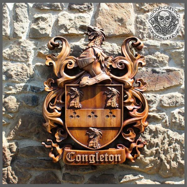 Wooden carving of family Coat of arms & crests