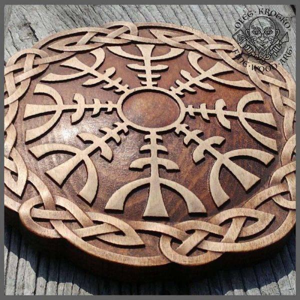 Helm Ave Vegvisir Viking Symbol wood carving