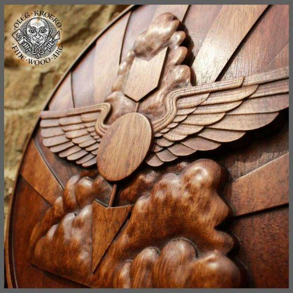 HERALDIC ART USA MARINE WOOD CARVED