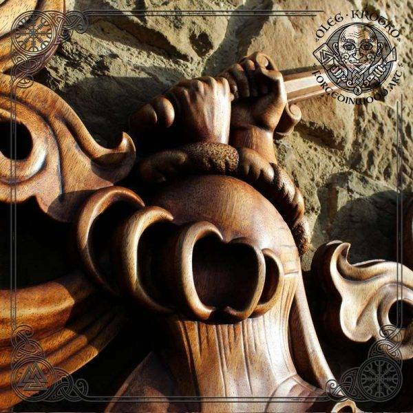 Sculptor Heraldic family coat of arms made of wood