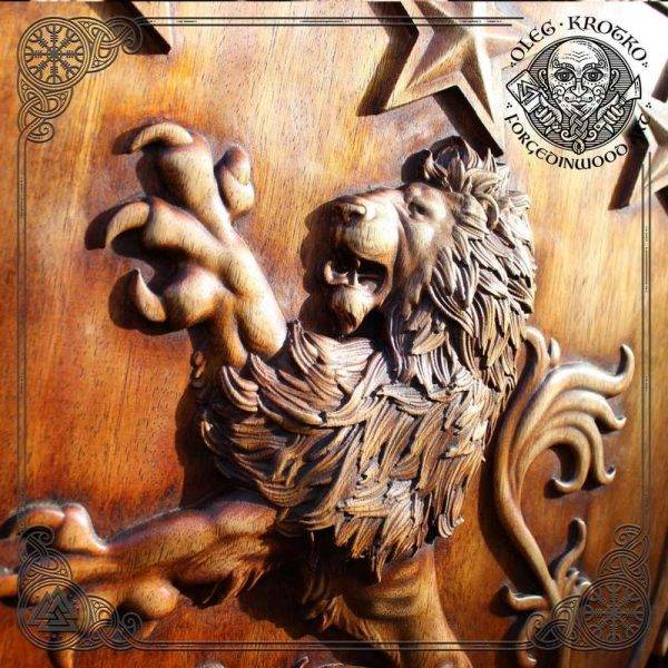 Heraldic family coat of arms made of wood